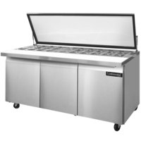 Continental Refrigerator SW72-30M-HGL 72 inch 3 Door Mighty Top Refrigerated Sandwich Prep Table with Hinged Glass Lid