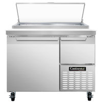 Continental Refrigerator CPA43 43 inch Pizza Prep Table with Full and Half Doors