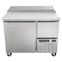 Continental Refrigerator CPA43 43 inch Customizable Pizza Prep Table with Full and Half Doors