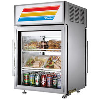 True GDM-5PT-S-LD Stainless Steel Pass-Through Countertop Display Refrigerator with Swing Door