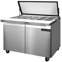 Continental Refrigerator SW48-18M-HGL 48 inch 2 Door Mighty Top Refrigerated Sandwich Prep Table with Hinged Glass Lid