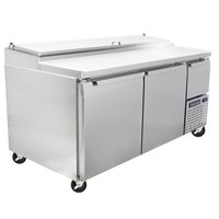Continental Refrigerator CPA68 68 inch Customizable Pizza Prep Table with Two Full Doors and One Half Door