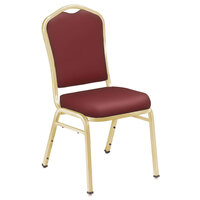 National Public Seating 9308-G Silhouette Style Stack Chair with 2 inch Padded Seat, Gold Metal Frame, and Pleasant Burgundy Vinyl Upholstery