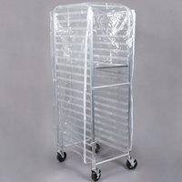 Heavy Duty Clear Bun Pan Rack Cover with 3 Zippers - 28 inch x 24 inch x 63 inch
