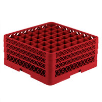 Vollrath TR9EEE Traex® Full-Size Red 49-Compartment 7 7/8 inch Glass Rack