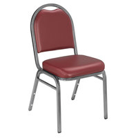National Public Seating 9208-SV Dome Style Stack Chair with 2 inch Padded Seat, Silvervein Metal Frame, and Pleasant Burgundy Vinyl Upholstery