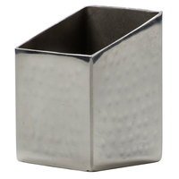 American Metalcraft HMSSQPH2 Square Angled Hammered Stainless Steel Sugar Caddy - 2 inch x 2 3/4 inch