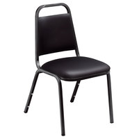 National Public Seating 9110-B Standard Style Stack Chair with 1 1/2 inch Padded Seat, Black Metal Frame, and Panther Black Vinyl Upholstery