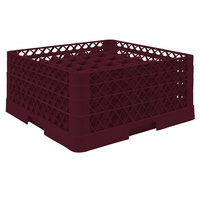 Vollrath TR9EEA Traex® Full-Size Burgundy 49-Compartment 7 7/8 inch Glass Rack with Open Rack Extender On Top
