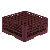 Vollrath TR9EEE Traex® Full-Size Burgundy 49-Compartment 7 7/8 inch Glass Rack