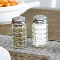 Tablecraft 163S&P 1.5 oz. Nostalgia Glass Salt and Pepper Shaker with Stainless Steel Top - 12/Pack