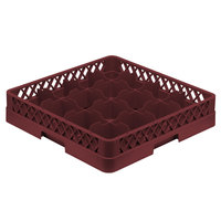 Vollrath TR4A Traex Full-Size Burgundy 16-Compartment 4 13/16 inch Cup Rack with Open Rack Extender On Top