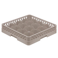 Vollrath TR4A Traex® Full-Size Beige 16-Compartment 4 13/16 inch Cup Rack with Open Rack Extender On Top