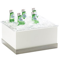Cal-Mil 3005-10-55 Luxe White Ice Housing with Stainless Steel Trim and Clear Pan - 12 1/4 inch x 10 inch x 6 1/2 inch