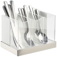 Cal-Mil 3015-55 Luxe White Metal 3-Compartment Flatware Organizer