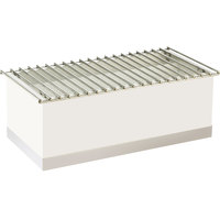 Cal-Mil 3012-55 Luxe White Metal Chafer Griddle with Stainless Steel Base - 12 inch x 22 inch x 8 1/2 inch