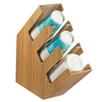 Cal-Mil 2048-3-60 Bamboo 3-Section Slanted Countertop Cup and Lid Organizer