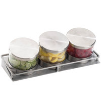 Cal-Mil 1850-5-55 Mixology Stainless Steel Three 32 oz. Jar Horizontal Display with Metal Lids - 16 1/2 inch x 6 inch x 6 3/4 inch