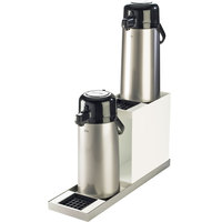 Cal-Mil 3008-55 Luxe White Metal 2 Step Airpot Stand with Drip Trays and Stainless Steel Base - 7 inch x 22 1/2 inch x 12 1/2 inch
