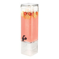 Cal Mil 1112-3AINFH Classic 3 Gallon Acrylic Beverage Dispenser with Infusion Chamber and Side Handles – 7 inch x 9 inch x 29 1/2 inch