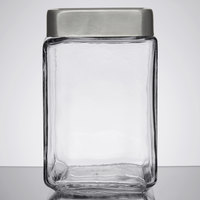 Anchor Hocking 85754 1.5 Qt. Stackable Glass Jar with Brushed Aluminum Lid - 6/Case