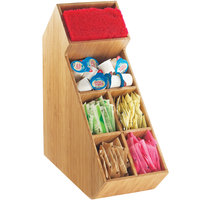Cal-Mil 2052-60 Bamboo Stir Stick and Condiment Display with Removable Dividers - 5 1/2 inch x 13 1/4 inch x 14 1/4 inch