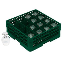 Vollrath TR4DA Traex Full-Size Green 16-Compartment 6 3/8 inch Cup Rack with Open Rack Extender On Top