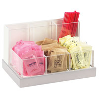 Cal-Mil 3013-55 Luxe Multi-Bin Condiment and Stir Stick Organizer with Stainless Steel Base - 8 1/4 inch x 6 inch x 5 inch