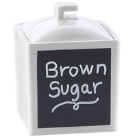 Cal-Mil 1432-15C 4 inch White Melamine Write-On Square Jar with Full Lid