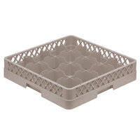 Vollrath TR4DDDA Traex Full-Size Beige 16-Compartment 9 7/16 inch Cup Rack with Open Rack Extender On Top