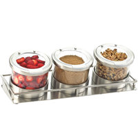 Cal-Mil 1850-5-55HL Mixology Stainless Steel Three 32 oz. Jar Horizontal Display with Hinged Lids - 16 1/2 inch x 6 inch x 6 3/4 inch