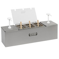 Nemco 88100-CB-3 26 inch Stainless Steel Condiment Bar with Two 3 Qt. Pumps and 0.6 Qt. Condiment Trays