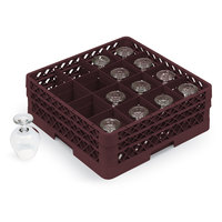 Vollrath TR4DA Traex Full-Size Burgundy 16-Compartment 6 3/8 inch Cup Rack with Open Rack Extender On Top