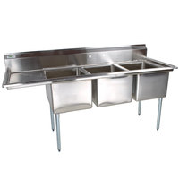 Regency 66 1/2 inch 16-Gauge Stainless Steel Three Compartment Commercial Sink with 1 Drainboard - 15 inch x 15 inch x 12 inch Bowls