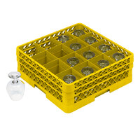Vollrath TR4DDDA Traex Full-Size Yellow 16-Compartment 9 7/16 inch Cup Rack with Open Rack Extender On Top