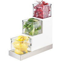 Cal-Mil 3003-55-12 Luxe Three Tier 4 inch Glass Jar Display with White Metal Frame and Stainless Steel Accent - 4 1/2 inch x 12 1/4 inch x 9 inch