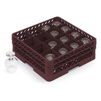 Vollrath TR4DDDA Traex Full-Size Burgundy 16-Compartment 9 7/16 inch Cup Rack with Open Rack Extender On Top