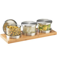 Cal-Mil 1850-4-60 Mixology Bamboo Three 16 oz. Jar Horizontal Display with Metal Lids - 16 inch x 6 inch x 4 inch