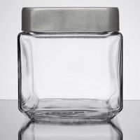 Anchor Hocking 85753 1 Qt. Stackable Glass Jar with Brushed Aluminum Lid   - 6/Case