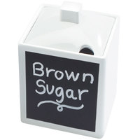Cal-Mil 1432-15N-C 4 inch White Melamine Write-On Square Jar with Notched Lid