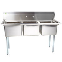 "Regency 54"" 16-Gauge Stainless Steel Three Compartment Commercial Sink without Drainboards - 15"" x 15"" x 12"" Bowls"