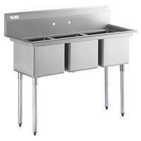 Regency 54 inch 16-Gauge Stainless Steel Three Compartment Commercial Sink with Galvanized Steel Legs and without Drainboards - 15 inch x 15 inch x 12 inch Bowls