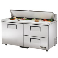 True TSSU-60-16D-2-ADA 60 inch ADA Height Sandwich / Salad Prep Refrigerator with One Door and Two Drawers