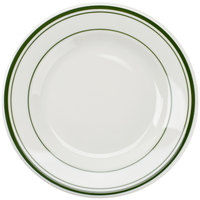 Tuxton TGB-007 Green Bay 7 1/8 inch Eggshell Wide Rim Rolled Edge China Plate with Green Bands - 36/Case