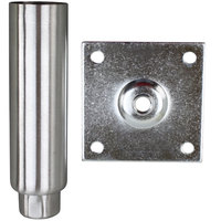 All Points 26-2441 6 inch Stainless Steel Plate Mount Adjustable Equipment Leg - 3 1/2 inch Plate, 2000 lb. Capacity