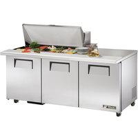 True TSSU-72-18M-B-ADA 72 inch Mega Top Three Door ADA Height Sandwich / Salad Prep Refrigerator