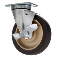 Cres Cor 0569-306-BK Equivalent 5 inch Swivel Plate Caster with Brake - 300 lb. Capacity