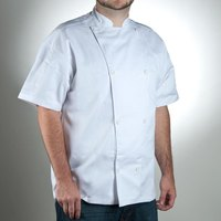 Chef Revival J005-M Knife and Steel Size 42 (M) White Customizable Short Sleeve Chef Jacket - Poly-Cotton Blend