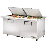 True TSSU-60-24M-B-DS-ST-ADA 60 inch Mega Top Dual Side Two Door ADA Height Sandwich / Salad Prep Refrigerator