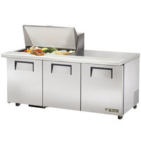 True TSSU-72-15M-B-ADA 72 inch Mega Top Three Door ADA Height Sandwich / Salad Prep Refrigerator